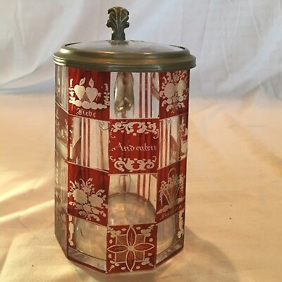 Antique Bohemian Glass Beer Stein Red Ruby Cut Engraved