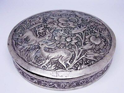 Antique  Persian solid silver powder pbox 141g