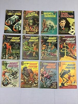 Lot Of 12 Gold Key Comic Books - Robot Fighter, Lost In Space, Flash Gordon, Etc