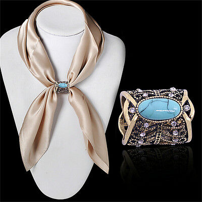 New Bohemia Vintage Bronze Silver Plated Turquoise Brooch Scarf Clip Jewelry WI