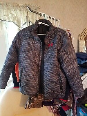 Under Armour Youth XL Puffer Coat Jacket Gray & Black with Red Under Armour Logo