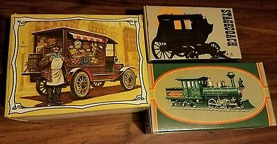 Lot of 3 vintage AVON aftershave Historical Transportation. NEW in boxes.