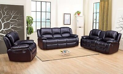 Betsy Furniture 3 Pc Bonded Leather Recliner Sofa Set Living Room In