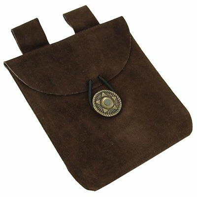 Medieval Renaissance Leather Brown Suede Pouch