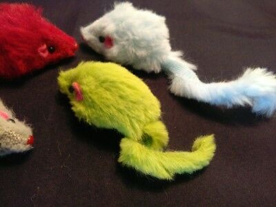 Two Fluffy Cat Toy Bright And Colourful + Free Catnip Top up
