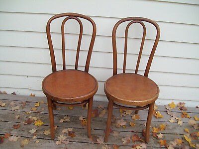 2 Vintage Bentwood Parlor Bistro Cafe Side Chairs  Wood Seat Thonet Style