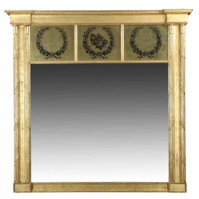 Fine Neoclassical Antique Carved Giltwood Pier Mantel Mirror, Early 19th Century