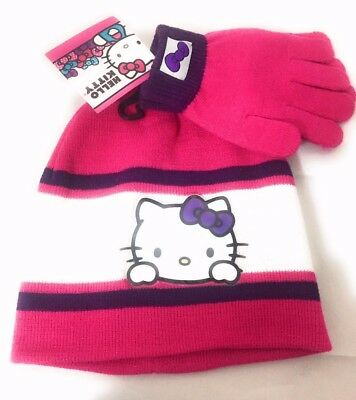 c5c86eec262 HELLO KITTY KNITTED Beanie Winter Christmas Hat Gloves 2pc Set Pink ...