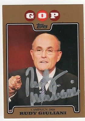 RUDY GIULIANI Signed 2008 Topps Gold Card - Autograph