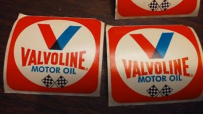 Lot of 2 Original vintage VALVOLINE motor oil racing decal stickers slot cars?