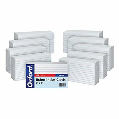 "Oxford Ruled Index Cards, 3"" x 5"", White, 10 Packs of 100 (31EE)."