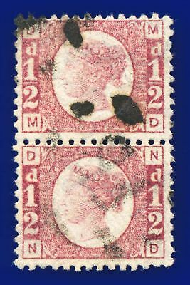 1874 SG49 ½d Rose Plate 11 Pair MD-ND Well-centred, Excellent perfs Cat £56 aodn
