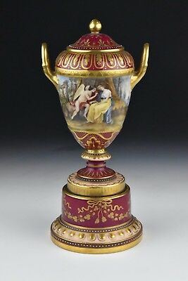 Antique Artist Signed Royal Vienna Porcelain Covered Urn Hand Painted Views