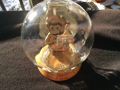 """Vic Moran Glass Bubble Bank - MONKEY WITH CUP """"STOP MONKEYING AND START SAVING"""""""