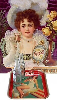 1939 Springboard Girl Coca-Cola Tray with (2) 6 Star Bottles and Vintage Poster