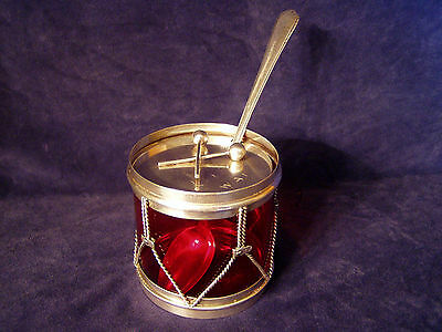 Sterling Silver Compote Red Glass with Sterling Spoon