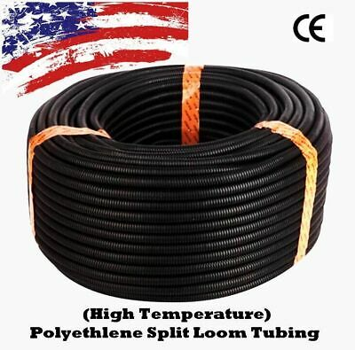 "5 Ft 3/4"" Split Wire Loom Conduit Polyethylene Tubing Black Color Sleeve Tube US"