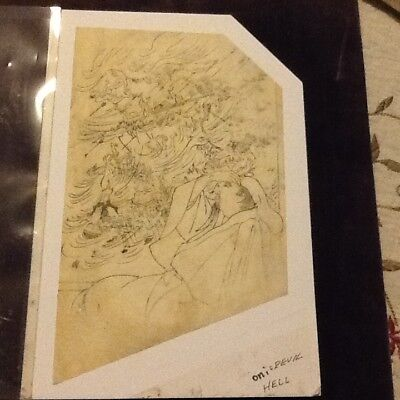 "Antique Japanese drawing ""Oni"" rice paper Rare man imagining ""hell"""