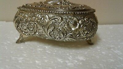 Vintage Large Silver Heart Shaped Jewelry Box  ..free Shipping