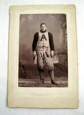 Antique PHOTO Cabinet Card FOOTBALL PLAYER RUGBY Late 19thC ADDISON NY HS