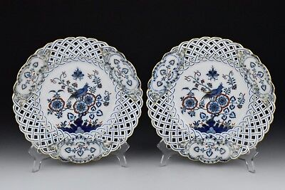 Pair of 19th Century Miessen Porcelain Reticulated Plates with Bird Scenes