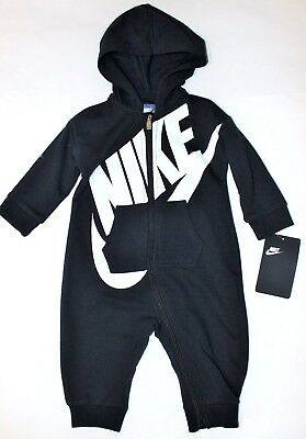 Baby Boys 6/9 months NIKE one pc Hooded bodysuit Black zip up outfit NEW