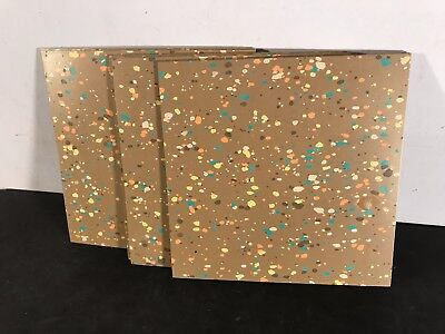 "Lot 13 new old stock unused fun vtg Mid-Century modern 9"" asbestos floor tiles"