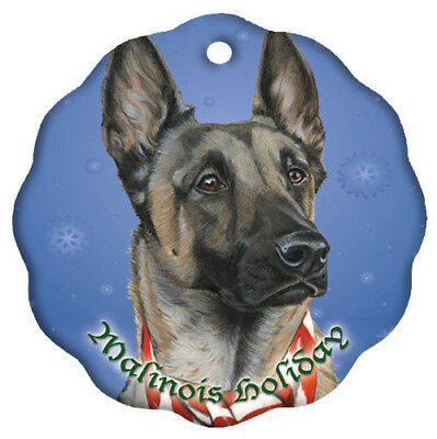 Belgian Malinois Holiday Porcelain Christmas Tree Ornament
