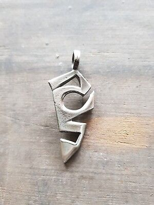 Silver Tone Pewter Abstract Urban Tribal Pendant  F10