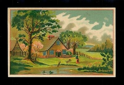 Charming A-Frame Home In The Country-Victorian Trade Card-SALE