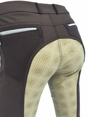 Ladies Brown Full Sea Silicone Jodhpurs  Womens Silicone Breeches Lycra Sock