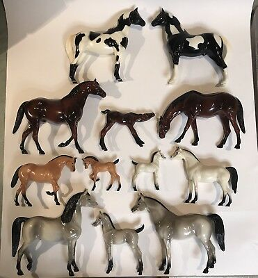 Hartland Horses Lot of 12 Stallion Mare Foal Family Gray Black White Brown Paint