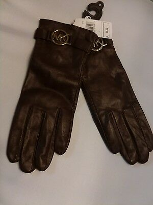 Michael Kors Womens Brown Leather Gloves Gold Logo Small NWT MSRP $98