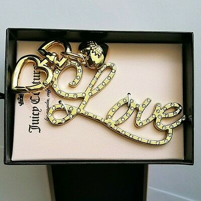 "NWT Juicy Couture Rhinestone ""Love"" Key Chain Fob BOXED Ships Next Business Day!"