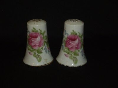 Vintage Lefton China Salt and Pepper Shaker  Hand Painted Rose Very Nice