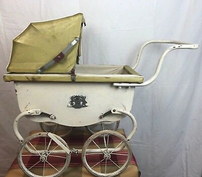 "Vintage Antique White Wooden Toy Baby Carriage Buggy 29"" L x 26"" H x 12"" W"