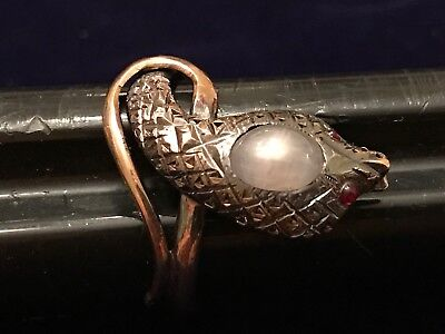 Antique Victorian Star Sapphire Cobra Snake Ring 10KT Yellow Gold Ruby Red Eyes