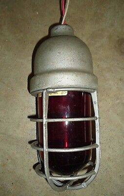 Vintage Crouse Hinds Explosion Proof Industrial Cage Light Fixture, RED!
