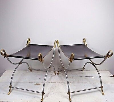 RARE Pair Of 1960s NeoClassic Maison Jansen Style Swan Motif & Leather Benches