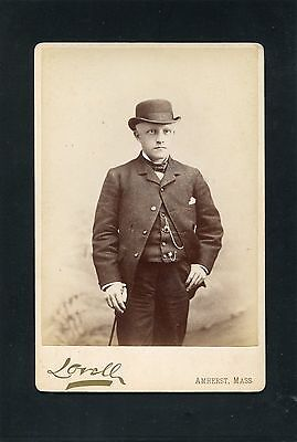 Cabinet Card Photograph well dressed Man Bowling Hat Photo Amherst Massachusetts