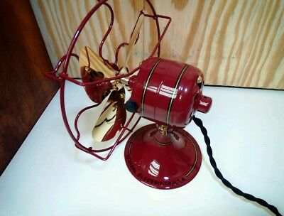 """RESTORED  ANTIQUE  6"""" GE  Fan, Brass Blade and Steel Cage."""