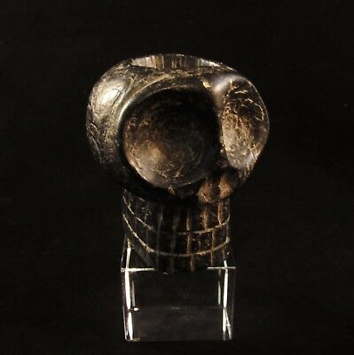 Ancient Pre-Columbian Native Stone Skull Pipe Adena Culture ~ Mound Builder
