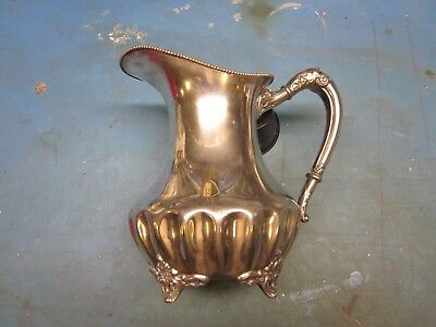 Antique Early 1900's Adelphi Silverplate Quadruplate Fancy Footed Water Pitcher