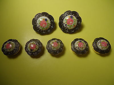 Vtg Antique Lot 7/seven/ PC Victorian Style Earrings And Buttons Cover Set #137.