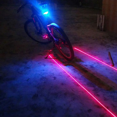 2 Laser +5 LED Rear Cycling Bicycle Bike Tail Safety Warning Flashing Lamp Light