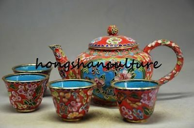 Collectible Decorated Old Cloisonne Carved Flower Tea Pot Cup
