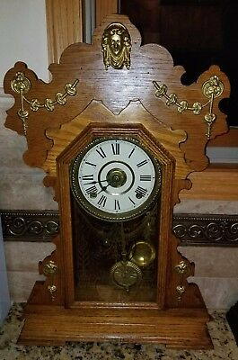 Antique Running 1887 Seth Thomas Carved Oak Kitchen Parlor Clock.,alarm, Video!