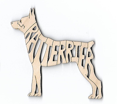 Rat Terrier Dog laser cut and engraved wood Magnet