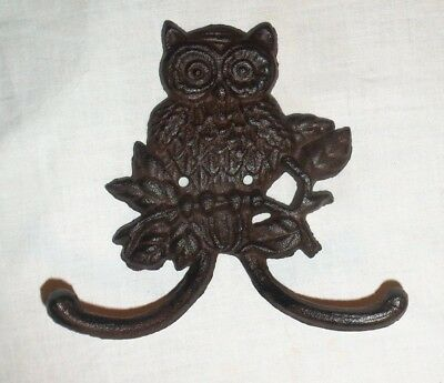 Large Cast Iron Owl Hook Double Hook Wall Coat Hanger Wall Decor Vintage Style