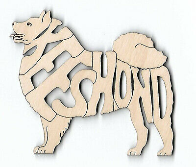 Keeshond Dog laser cut and engraved wood Magnet Great Gift Idea
